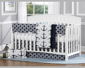 Navy Anchor Baby Crib Bedding