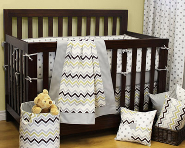 Chevron Grey Denim Bedding