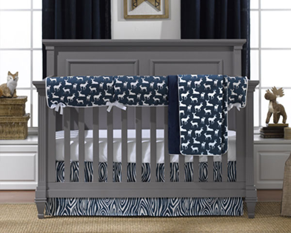 Navy Woodland Baby Crib Bedding
