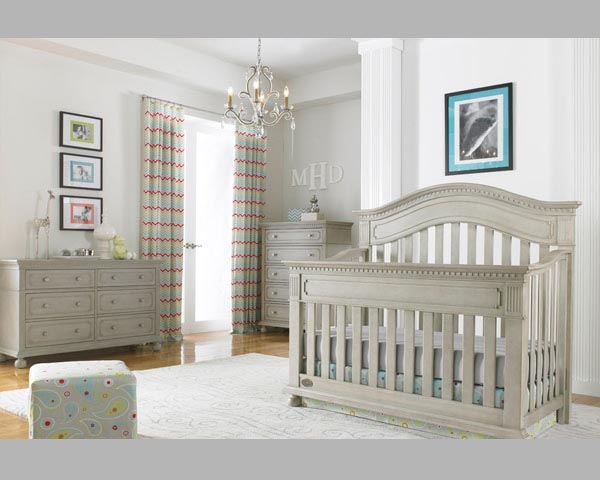 Naples Convertible Crib Grey Satin in Akron Ohio