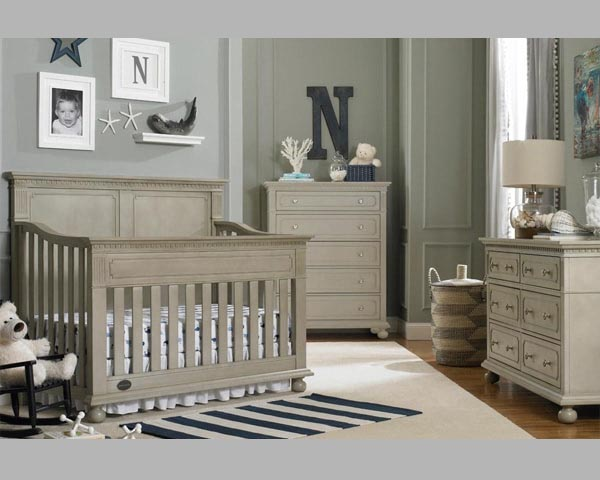 Naples Full Panel Crib Grey Satin Nursery Furniture