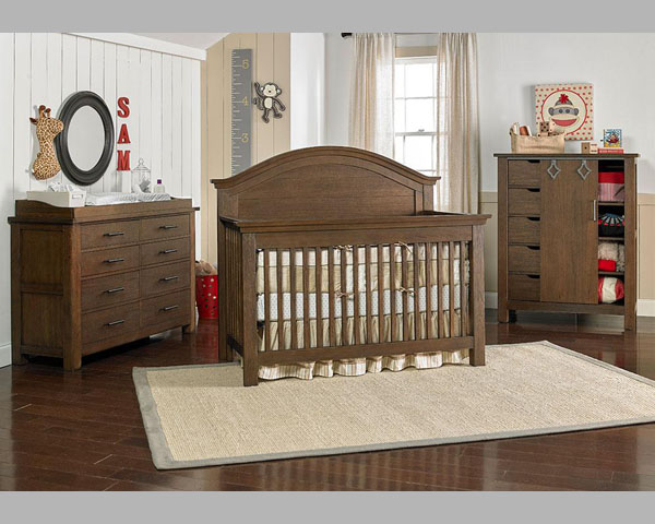 Lucca weathered brown crib,dresser and chest