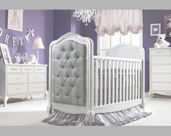 Angelina Upholstered Pearl Affordable Baby Crib